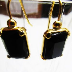 Jewelry - Black Onyx Cut Glass Goldtone Pierced Earrings.